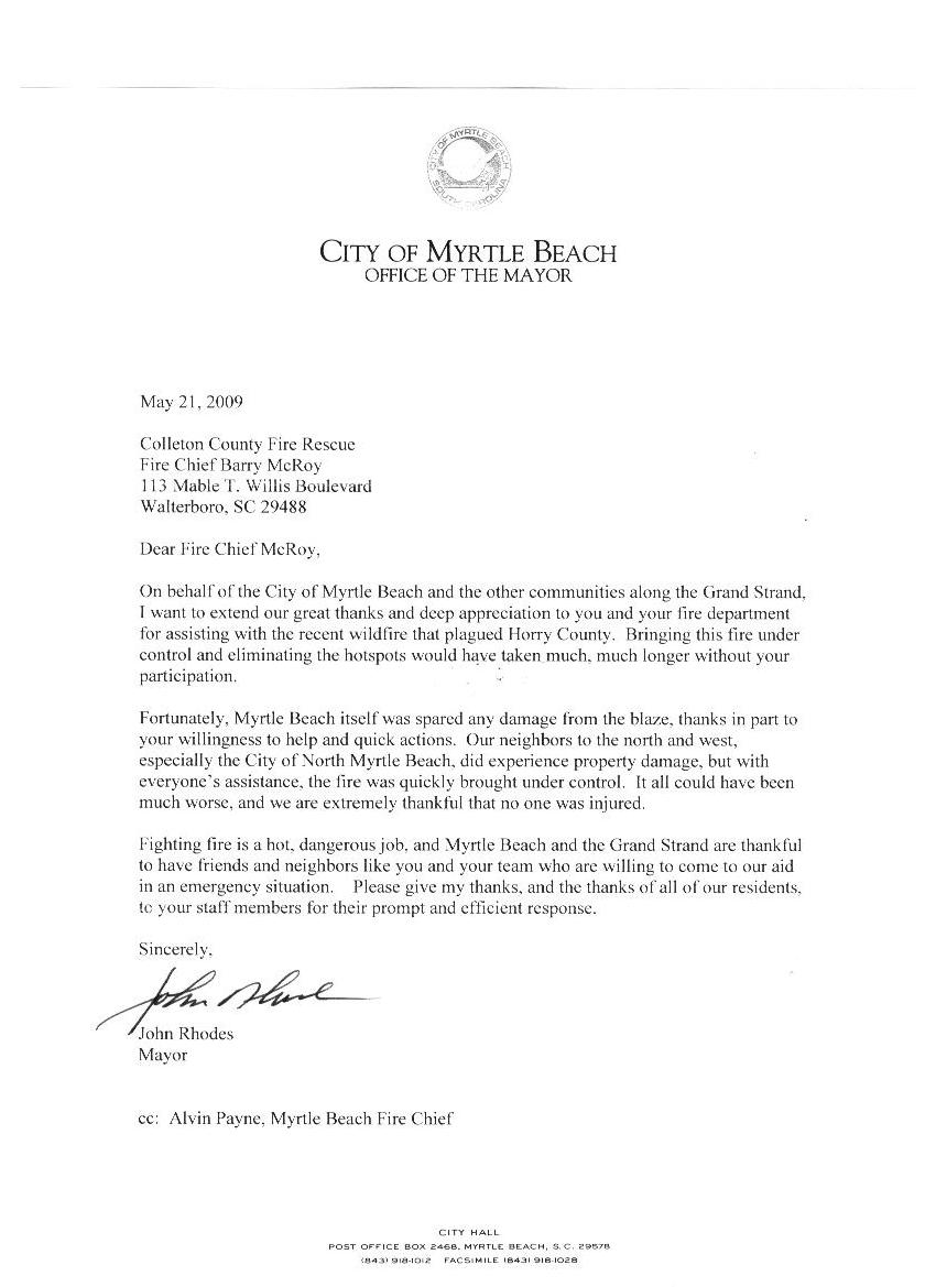 ccfr thank you letters from john rhodes or of the city of myrtle beach