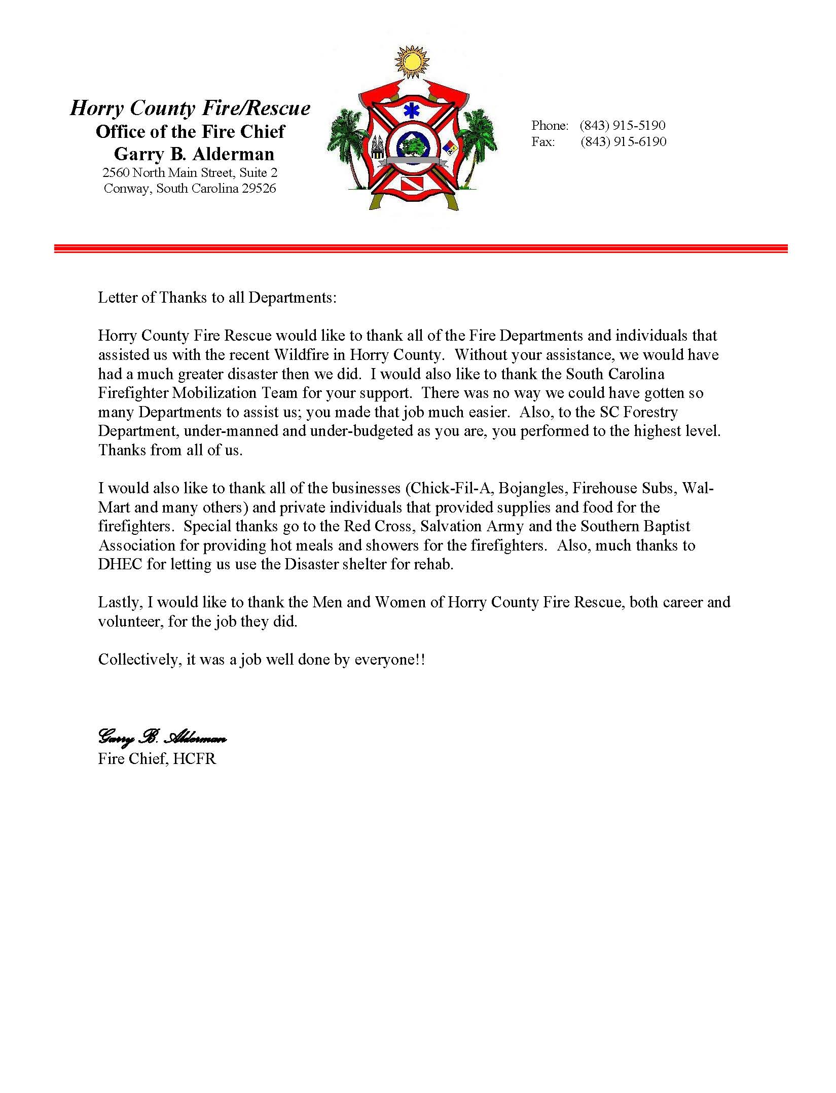 Sample Letter Of Appreciation For A Job Well Done from www.colletonfire.com